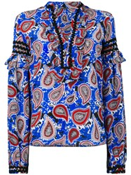 Dodo Bar Or Paisley Print Shirt Women Silk 44 Blue