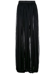 A La Garconne Sheer Effect Pleated Trousers Polyester Black