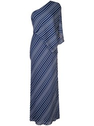 Halston Heritage Striped One Shoulder Dress Blue