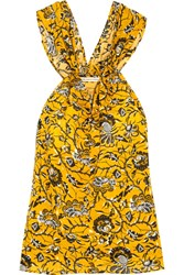 Etoile Isabel Marant Acan Printed Cotton Top Yellow