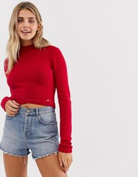 Hollister High Neck Jumper With Wrap Detail Red