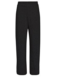 Le Kasha India Wide Leg Cashmere Cropped Trousers Charcoal