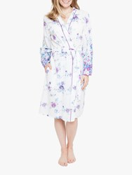 Cyberjammies Andrea Floral Dressing Gown White Purple