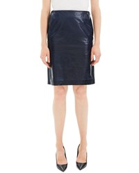 Theory Clean Leather Knee Length Pencil Skirt Blue