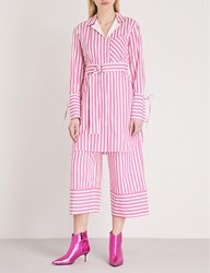 Moandco. Striped Cotton Shirt Dress Red And White S
