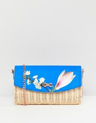 Ted Baker Straw Clutch Bag In Harmony Floral Bright Blue