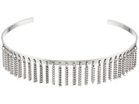 Steve Madden Open Collar With Chain Fringe Choker Necklace Rhodium Necklace Gray