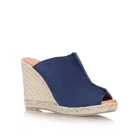 Kurt Geiger Muffin Wedge Peep Toe Slip On Shoes Navy