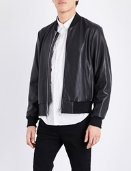 Paul Smith Stand Collar Leather Bomber Jacket Black