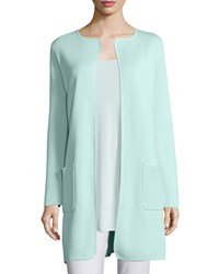 Eileen Fisher Silk Cotton Interlock Long Jacket Green Mint Women's Greenmint