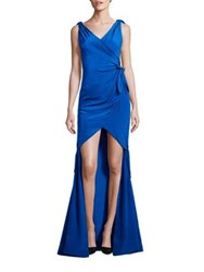 Moschino Silk Crepe De Chine Hi Lo Gown Blue