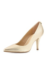 Michael Michael Kors Mk Flex Leather Mid Heel Pump Pale Gold