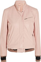 Bottega Veneta Leather Bomber Jacket Pastel Pink