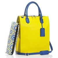 Mark Giusti Granada All Leather Shopper Bag Blue Yellow Orange