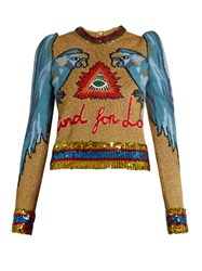 Gucci Parrot Intarsia Sequin Embellished Sweater Gold Multi