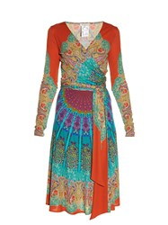 Etro Paisley Print Wrap Dress Blue Multi