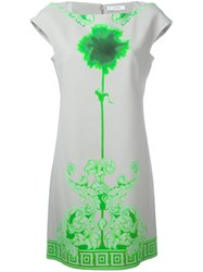 Versace Collection Neon Print Shift Dress Grey