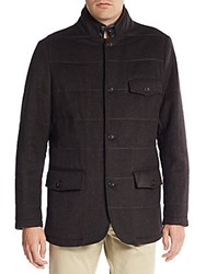 Saks Fifth Avenue Faux Leather Trim Herringbone Wool And Cashmere Jacket Brown