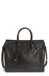 Yves Saint Laurent Small Sac De Jour Croc Embossed Calfskin Leather Tote