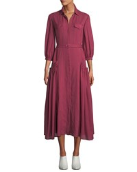 Gabriela Hearst Woodward Belted Cashmere Gauze Ankle Dress Plum
