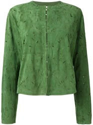 Drome Foliage Stamp Jacket Women Leather L Green