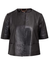 Ted Baker Short Sleeve Leather Jacket Black