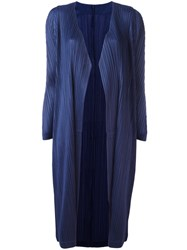 Issey Miyake Pleats Please By Open Pleated Midi Coat Blue