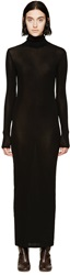 Rosetta Getty Black Turtleneck Long Sleeve Dress