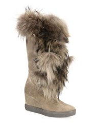 Aquatalia By Marvin K Colette Suede Raccoon Fur And Shearling Wedge Boots Taupe Black