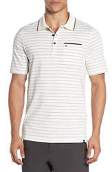 Hurley Men's 'Hype' Dri Fit Stripe Jersey Polo Ivory