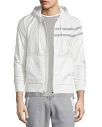 Moncler Nylon Zip Up Hoodie White Men's Size Small