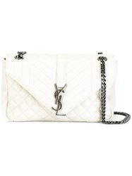 Saint Laurent Small Monogram College Satchel Bag White