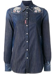Dsquared2 Embroidered Anchor Western Shirt Blue