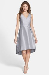 Women's Alfred Sung Satin High Low Fit And Flare Dress Dove