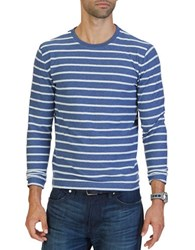 Nautica Slim Fit Striped Terry Crew Shirt Blue