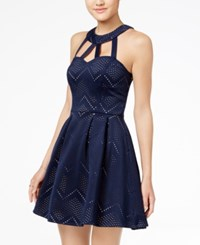 Crystal Doll Juniors' Laser Cutout Halter Fit And Flare Dress Navy Nude
