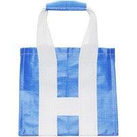 Comme Des Garcons Shirt Blue And White Poly Large Tote