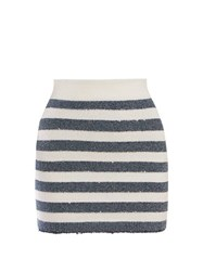 Balmain Striped Mini Skirt Blue White