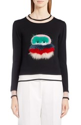 Fendi Women's Bug Sweater With Leather And Genuine Fox Fur Trim