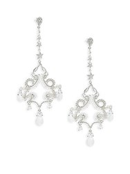 Azaara Swarovski Crystal And White Quartz Drop Earrings Silver