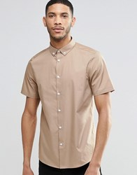 Asos Smart Shirt In Camel With Button Down Collar In Regular Fit Beige Tan