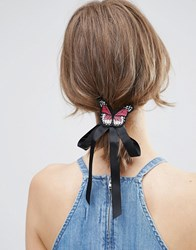 Asos Butterfly Bow Badge Hair Tie Black