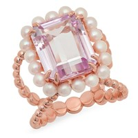 Victoria Six Cocktail Ring With Kunzite And Pearl Rose Gold