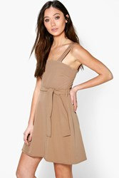 Boohoo Square Neck Tie Waist Pinafore Dress Camel
