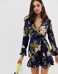 Parisian Cross Front Dress In Floral Print With Self Tie Belt Navy