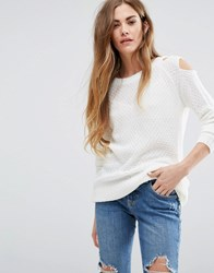 Daisy Street Cold Shoulder Jumper Cream