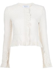 Derek Lam 10 Crosby Frayed Cropped Jacket White