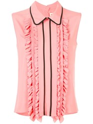 Marni Ruffle Trim Sleeveless Blouse Pink Purple