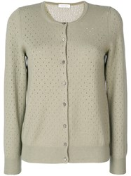 Le Tricot Perugia Punch Hole Knit Cardigan Women Silk Cashmere Virgin Wool S Green