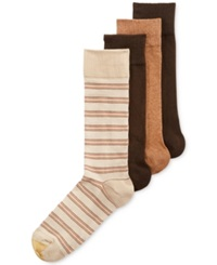 Gold Toe Men's Classic Striped Socks 4 Pack Khaki